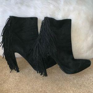 Jeffrey Campbell Black Suede Fringe Boots Size 7.5